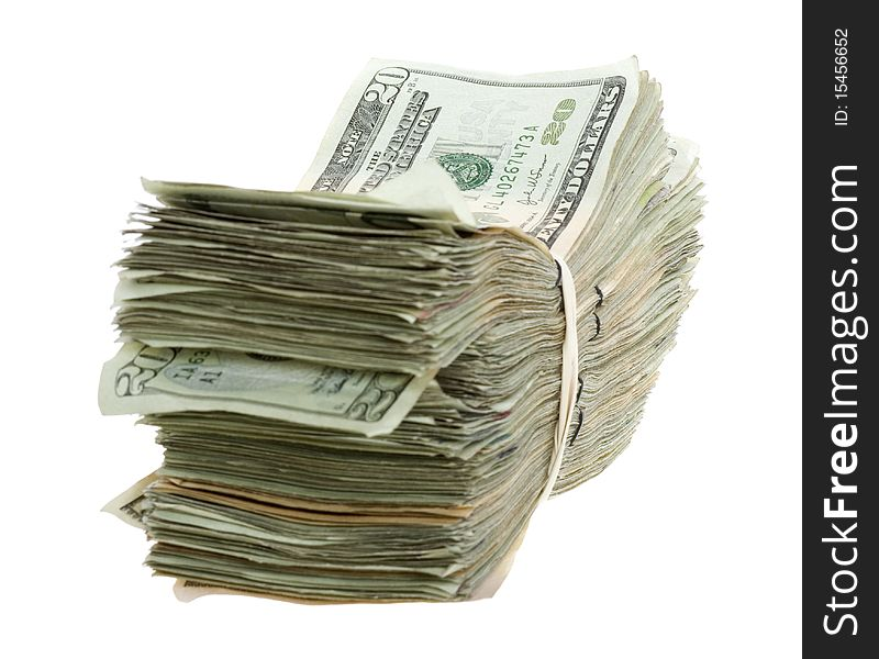 Twenty Dollar Bills Stacked and Banded Together