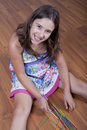 Free Girl Playing Mikado On The Floor Royalty Free Stock Photography - 15463837