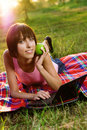 Free Lovely Girl With Laptop In The Park Royalty Free Stock Image - 15469296