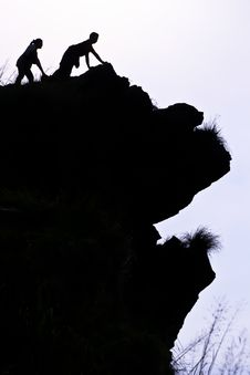 Free Man On Peak Of Mountain. Stock Photography - 15460542