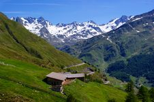 Oberglaneggalm With The Stubai Alps Royalty Free Stock Image