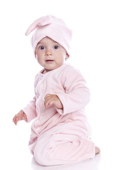 Free Baby Wearing Bunny Suit Royalty Free Stock Photos - 15462428
