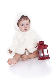 Cute Little Girl With A Warm Coat On Royalty Free Stock Photo