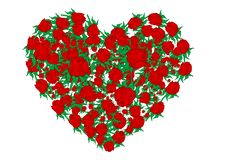 Vector Illustration Heart From Red Roses Royalty Free Stock Photo