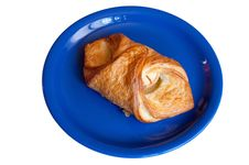 Free Croissant With Apples On Blue Plate Royalty Free Stock Image - 15463486