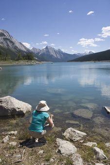 Admiring Beautiful Rocky Mountain Lake Royalty Free Stock Image
