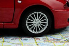 Free Car On The Map Royalty Free Stock Photo - 15464355