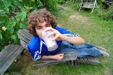 Free Boy Drinking Milkshake Stock Photos - 15464573