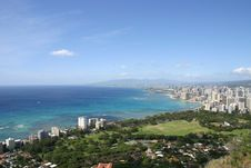 Free Waikiki Beach View From Diamond Head Stock Photos - 15464833
