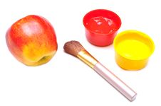 Apple And Brush Royalty Free Stock Photos