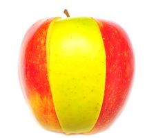 Free Red Apple With A Slice Of Yellow Royalty Free Stock Photography - 15466037