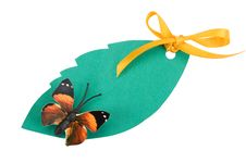 Free Tag Green Color With A Butterfly Royalty Free Stock Photos - 15466098