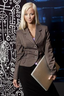 Girl In A Business Suit Stock Image