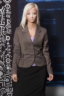 Free Blonde In A Striped Jacket Royalty Free Stock Photos - 15469168