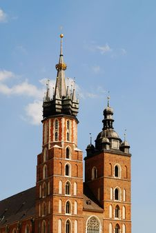 The Tower Of Mariacki Church In Cracow Royalty Free Stock Image