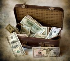 Dollars Are In A Suitcase Royalty Free Stock Images