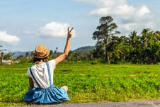 Free Tropical Portrait Of Young Happy Woman With Straw Hat On A Road With Coconut Palms And Tropical Trees. Bali Island. Stock Photos - 154685913