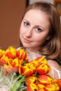 Free Blonde Holding Bunch Of Flowers Stock Photography - 15478472