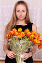 Free Blonde Holding Bunch Of Flowers Royalty Free Stock Photos - 15478478