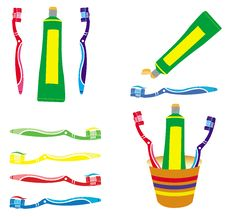 Free Toothpaste And Toothbrush Vectors Set Stock Images - 15470324
