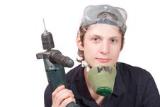 Free Worker With A Drill Royalty Free Stock Photos - 15470338