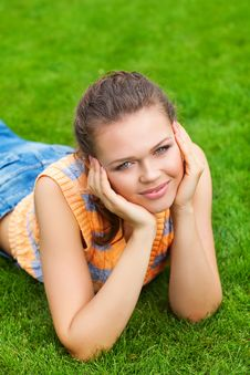 Pretty Female On Grass Stock Photography