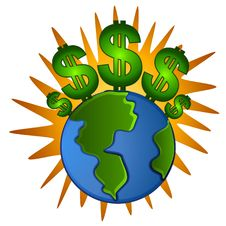 Free Earth With A Dollar Royalty Free Stock Photography - 15473927
