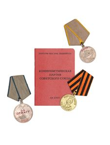 Free Soviet Communist Membership Card And Medals Royalty Free Stock Images - 15475819