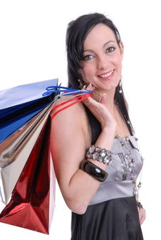 Free Cute Young Woman With Shopping Bags Royalty Free Stock Image - 15476326