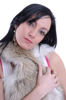 Free Cute Young Woman In Fur Coat Stock Images - 15476434