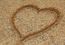 Free Heart On Sand Royalty Free Stock Image - 15476716