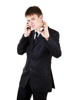 Free Young Business Man Make OK With Phone Royalty Free Stock Images - 15476829