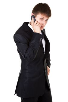 Free Young Business Man Talking Mobile Phone Royalty Free Stock Photography - 15476837