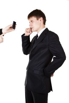 Free Young Business Man Looking In Mobile Phone Royalty Free Stock Photography - 15476857