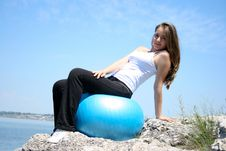 Free Young Woman Doing Yoga Exercises With The Ball Stock Photo - 15476960