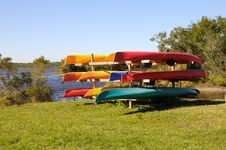 Free Rack Of Kayaks Royalty Free Stock Image - 15478426
