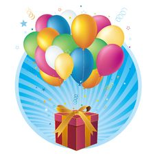 Free Gift Box And Balloon Royalty Free Stock Photo - 15479875