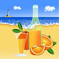 Free Oranges And A Glass Of Juice On The Beach Stock Photography - 15487222