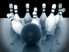 Bowling Pins On Wood Background Stock Photo