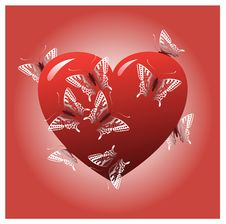 Free Red Heart With Butterflies Royalty Free Stock Images - 15482049