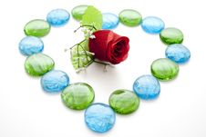 Free Glass Stones With Rose Stock Image - 15482141