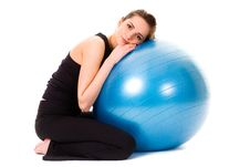 Free Young Tired, Very Attractive Female With Ball Royalty Free Stock Images - 15485639