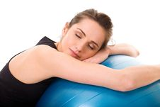 Free Young Tired, Attractive Female With Fitness Ball Royalty Free Stock Images - 15485659