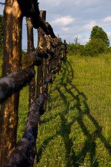 Free Meadow And Wooden Fence Royalty Free Stock Image - 15487156