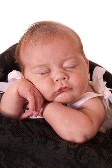Free Sleeping Newborn Girl Royalty Free Stock Images - 15487309