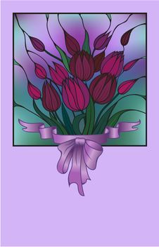 Vector Card With Bouquet Of Flowers Stock Image