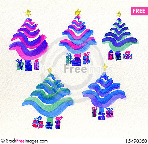 Free Christmas Trees, Stylized In Bright Colours. Stock Photo - 15490350