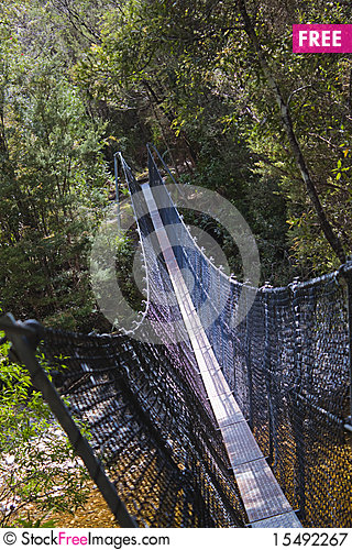 Free Hikers Suspension Bridge Over Franklin River Royalty Free Stock Photography - 15492267