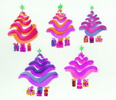 Free Christmas Trees, Stylized In Bright Colours. Royalty Free Stock Photo - 15490405