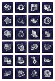 Free Icons Buttons Set In Blue Royalty Free Stock Images - 15491329